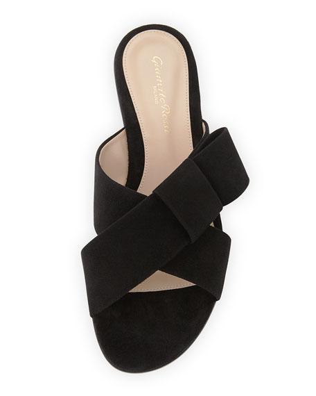 Flat Suede Ribbon Slide Sandal