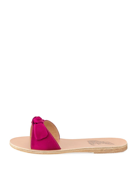 Alki Satin Bow Flat Slide Sandal