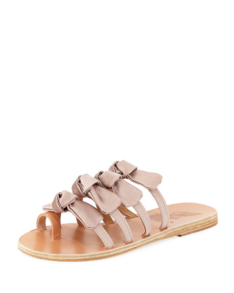 Womens Hara Bow-Embellished Cotton Slide Sandals Ancient Greek Sandals