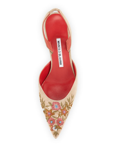 Carolyne Embroidered Suede 50mm Pump