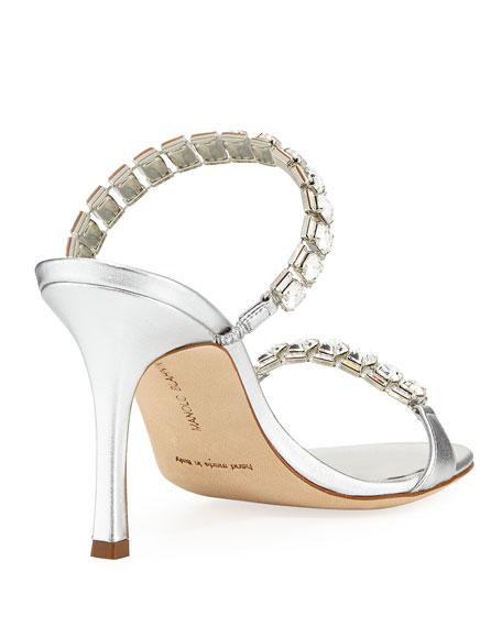 Dallifac Metallic Leather Two-Band Slide Sandal