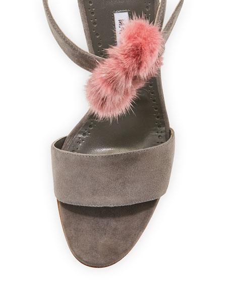 Trespola Fur-Trim d'Orsay Sandal