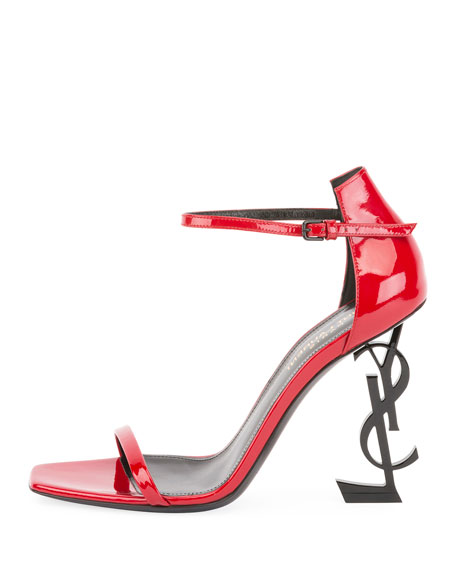 Patent Sandal with Logo Heel