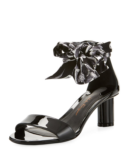 Patent Scarf Ankle-Tie Sandal