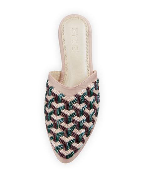 Alpha Beaded Satin Mule Slide