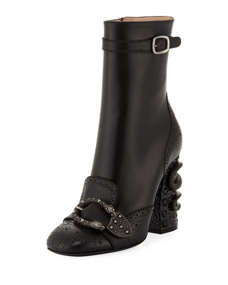 110mm Queercore Leather Brogue Ankle Boot