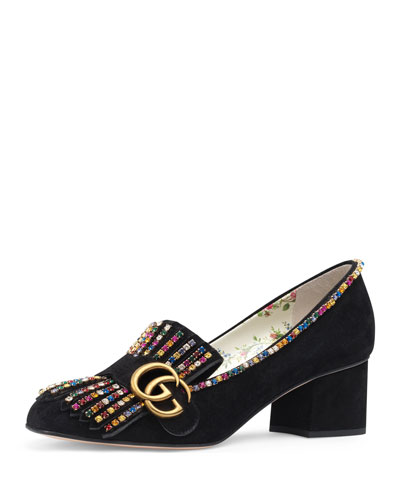 gucci velvet loafers. marmont beaded suede loafer pump quick look. gucci velvet loafers