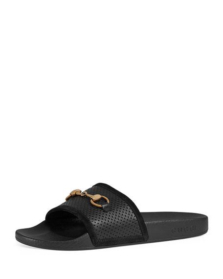 3a31cbb41f7 Gucci Suede Horsebit Slide Sandals