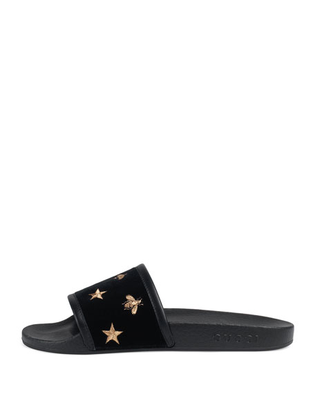 Pursuit Embroidered Slide Sandal