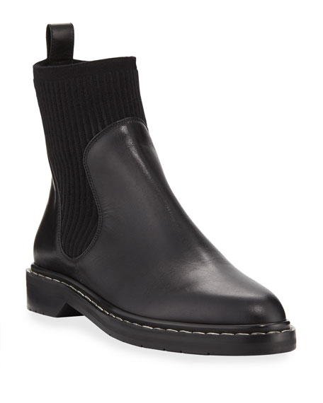 Fara Knit-Trim Leather Booties