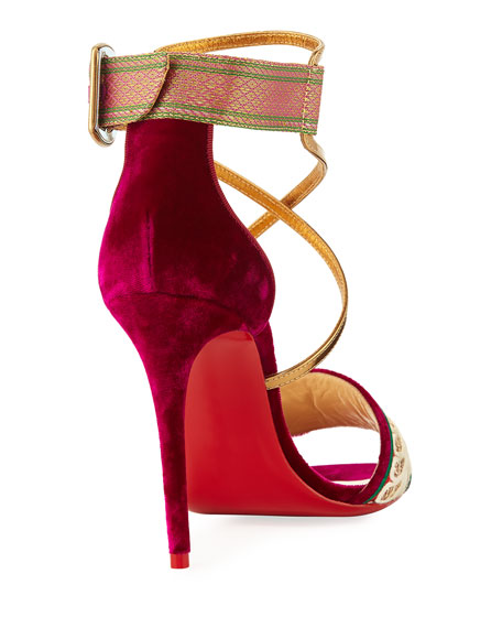 Sabina Velvet Red Sole Sandal