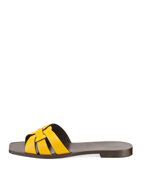 Tribute Flat Leather Slide Sandal