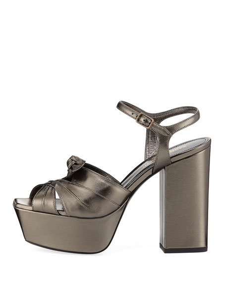 1e8f9e90d7 Saint Laurent Farrah Metallic Leather Platform Sandal