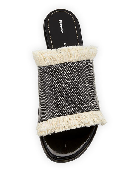 Fringed Canvas Mule Sandal