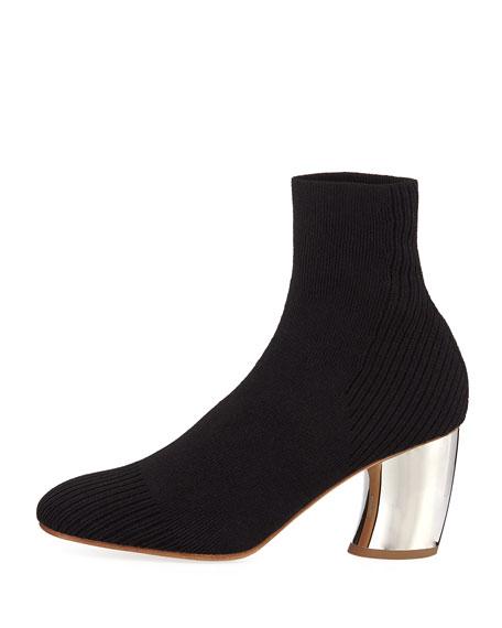 Knit Sock Block-Heel Bootie
