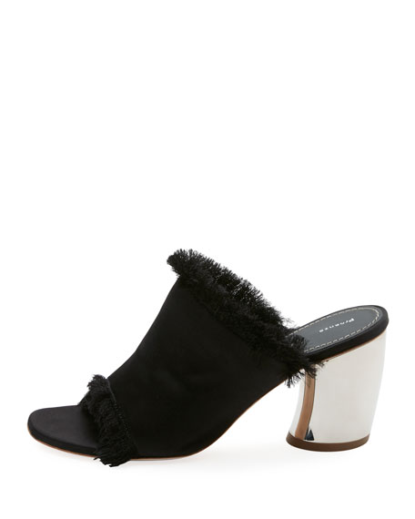 Fringed Satin Mule Pump