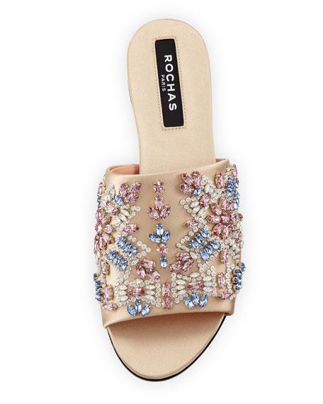 Embellished Satin Slide Sandals