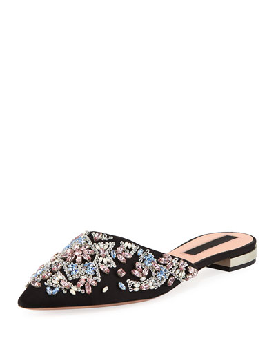 Embellished Satin Point-Toe Mule
