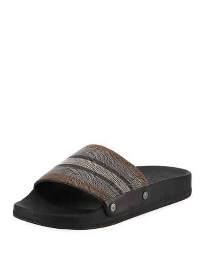 Striped Monili Pool Slide Sandal