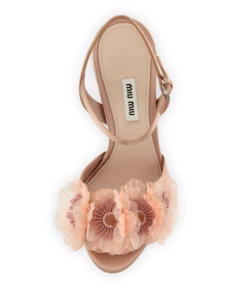 Flower-Embellished Ankle-Strap Sandal