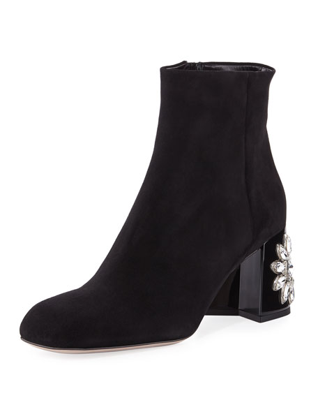 Suede Crystal-Heel Ankle Boot