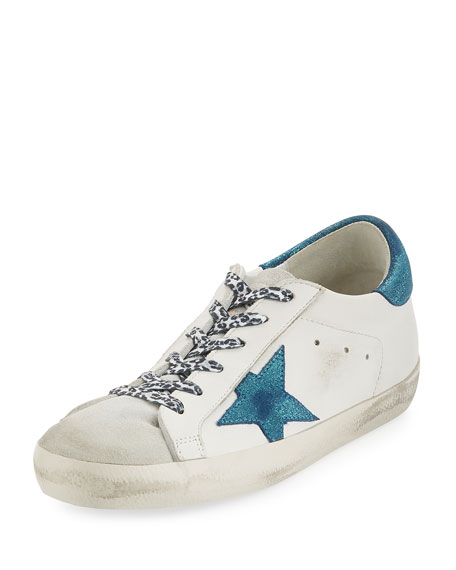 Metallic Lace-Up Star Sneakers