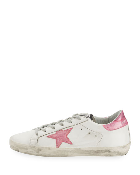 Distressed Leather Low-Top Sneakers