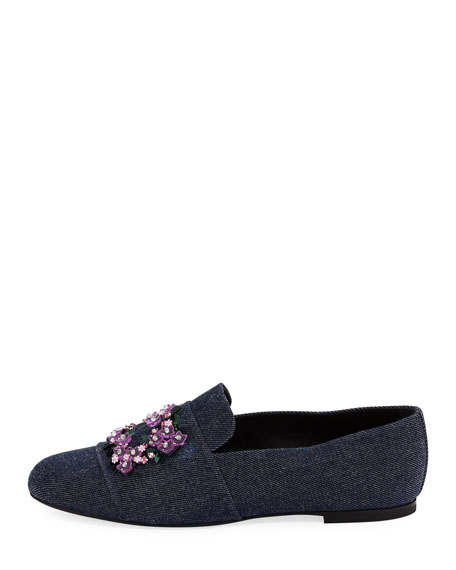 Jeweled Denim Loafer