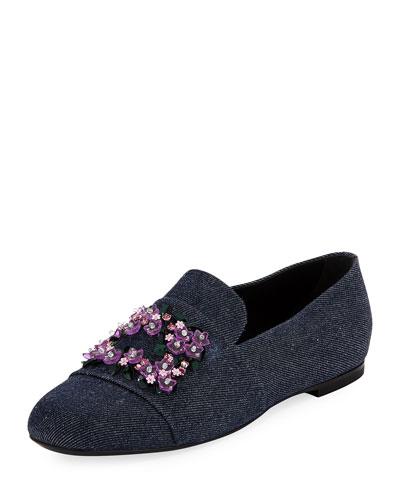 Jeweled Denim Loafer