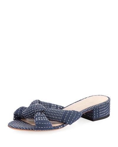 Elsie Stitched Denim Mule Sandal