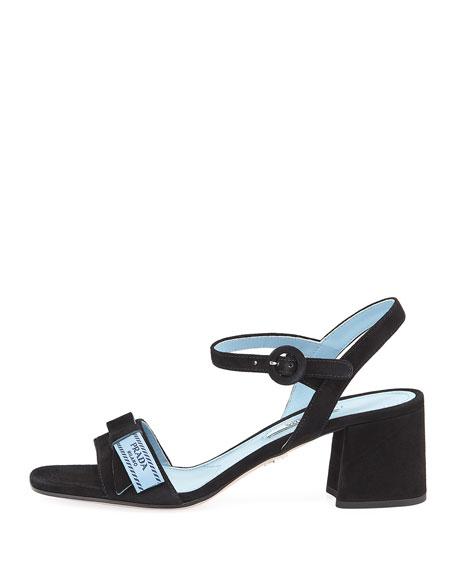 Suede Block-Heel Logo Flag Sandal