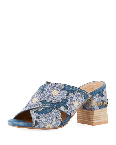 Patchwork Denim Flower Slide Sandal
