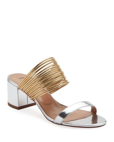 Rendez Vou Metallic Slide Sandals