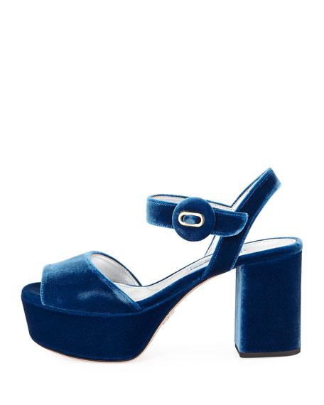 Quarter-Strap Velvet Platform Sandal