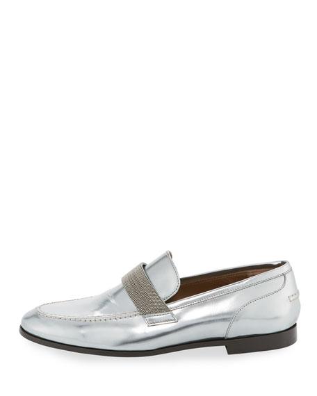 Monili-Beaded Metallic Leather Loafer
