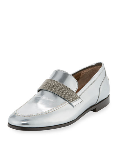 Monili-Beaded Metallic Leather Loafer