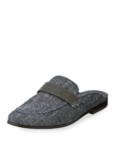 Monili-Beaded Denim Loafer
