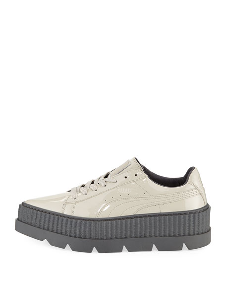 Patent Platform Creeper Sneakers, Gray