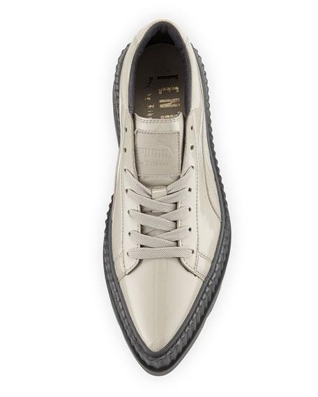 Patent Platform Creeper Sneakers, Gray