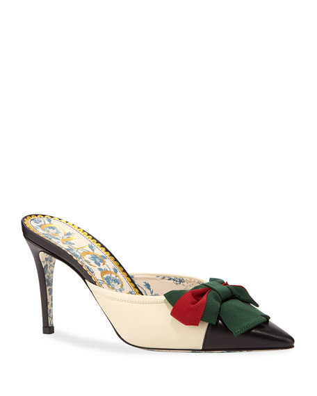 Gucci Leather Cap-Toe Mule with Web Bow