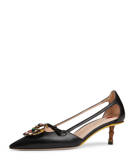 Gucci Jewel-GG Leather Pumps