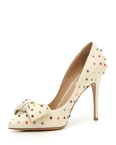 Rainbow Rockstud Leather Bow Pump