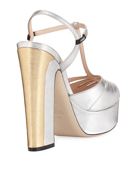 666bf6bfd43e Fendi Metallic T-Strap Platform Sandal