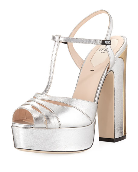 Metallic T-Strap Platform Sandal