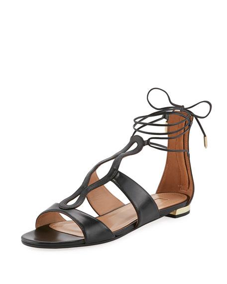 Flirt Tassel-Trim Ankle-Wrap Flat