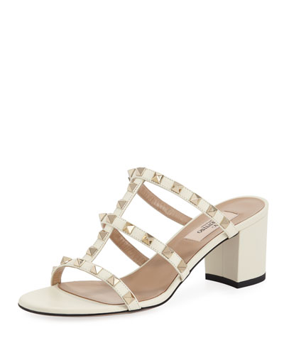 Rockstud Leather Slide Mule