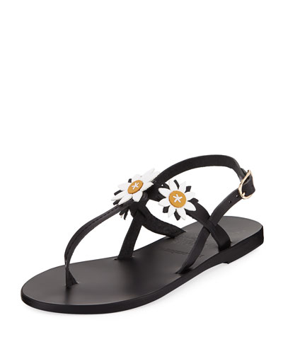 Sylvie Leather T-Strap Sandal w/ Flower Appliqués