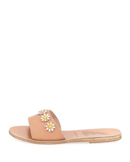 Paolo Leather Flower Slide Sandal