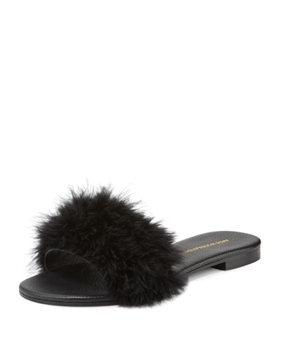 Bora Bora Feather-Embellished Slide Sandal, Black