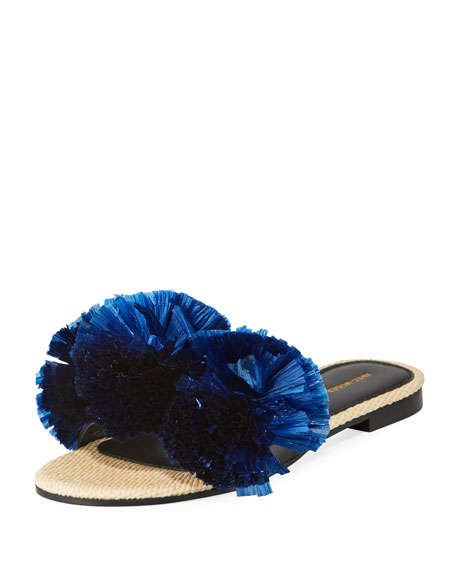 Bora Bora Raffia Pompom Slide Sandals, Navy